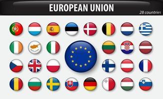 bandeiras da união europeia e membros vetor