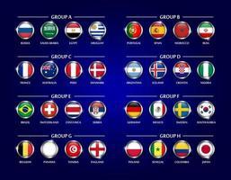 futebol ou copa de futebol 2018 equipe grupo definir círculo de vidro coberto design da bandeira nacional com borda de metal e vetor de brilho para torneio do campeonato mundial internacional