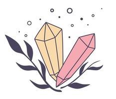 bela magia minerais geológicos pedras de cristal brilhantes elementos naturais esmeraldas e diamantes projeto gótico místico mágico símbolo astrologia conceito de halloween ilustração vetorial estilo boho vetor