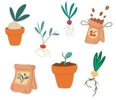 conjunto de sementes de mudas, fertilizantes, pote de mudas com brotos, raízes, plantas, cultivo em recipientes, jardinagem, primavera, mudas, cultivo, vegetais, vetorial, ilustração design plano vetor