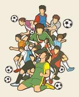 grupo de jogadores de futebol time de ação vetor