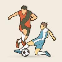 jogadores de futebol batalha ação vetor