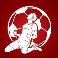 silhueta futebol esporte jogador ação vetor