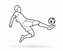 esboço jogador de futebol jogando bola vetor