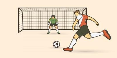 jogador de futebol chutando bola com o goleiro em pé vetor