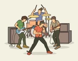 time de músico de banda de música vetor