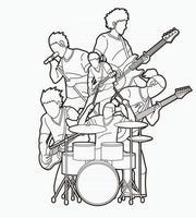 esboço música banda músico time grupo de músicos tocando música juntos vetor