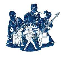 silhueta da banda de música vetor