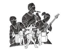 silhueta do time de músicos da banda vetor