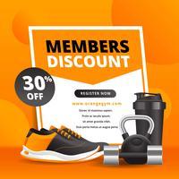 Material de publicidade de ginásio com equipamento de Fitness realista vetor