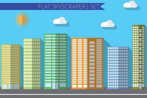conceito de ilustração vetorial design plano para arranha-céus de paisagens urbanas vetor