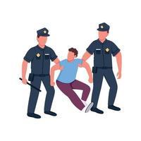 polícia prendendo personagens sem rosto de vetor de cor lisa criminosa