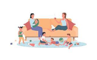 duas mães com filhos descansam em casa cor lisa vetor personagens sem rosto