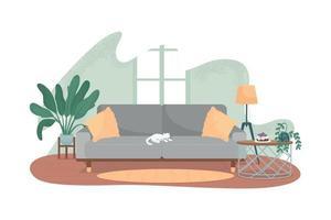 banner da web de vetor 2d de sala de estar moderna