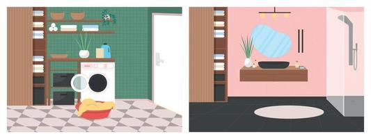 conjunto de ilustração vetorial de cor plana de banheiro luxuoso vetor