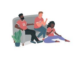 amigos fãs de esportes no sofá, vetor de cor lisa personagens sem rosto