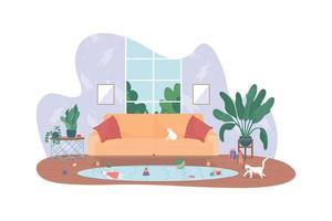 sala de estar com brinquedos infantis banner da web de vetor 2d