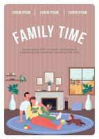 modelo de vetor plano de cartaz de tempo para a família