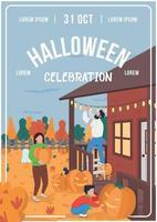 modelo de vetor plano de pôster de celebração de halloween