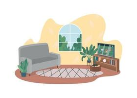 sala de estar com tv 2d vector web banner