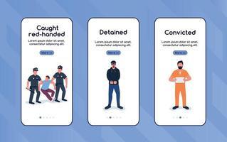 capturar criminosos integrando modelo de vetor plano de tela de aplicativo móvel
