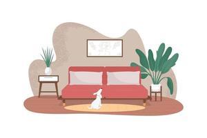 banner da web de vetor 2d de sala de estar contemporânea
