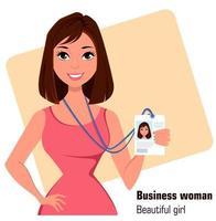 cartoon empresária linda morena com um vestido elegante mostrando o distintivo vetor
