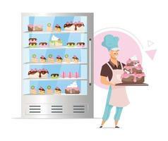 loja de confeitaria com ilustração vetorial de cores planas vetor