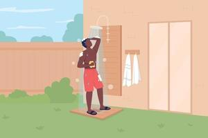 tomando banho em ilustração vetorial de cor lisa no quintal vetor