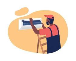 instalando ar condicionado no apartamento 2d ilustração vetorial isolada vetor