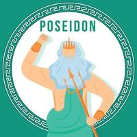 Poseidon turquesa postar maquete de mídia social vetor