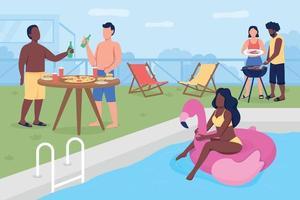 ilustração em vetor piscina festa cor lisa