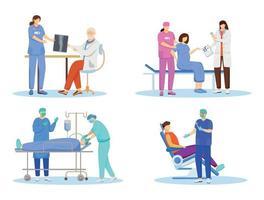 conjunto de ilustrações vetoriais plana médicos vetor