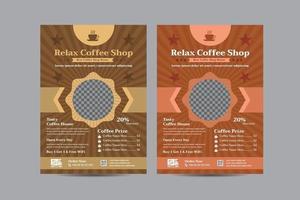 modelo de design criativo de folheto de cafeteria vetor
