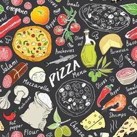 esboço desenhado de mão de padrão sem emenda de pizza. pizza doodles fundo de comida com farinha e outros ingredientes alimentares, forno e utensílios de cozinha. ilustração vetorial vetor