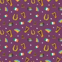 Dia de São Patrício conjunto de doodle desenhado, com duende, pote de moedas de ouro, arco-íris, cerveja, trevo de quatro folhas, ferradura, harpa celta e bandeira da ilustração vetorial Irlanda isolada no branco. vetor