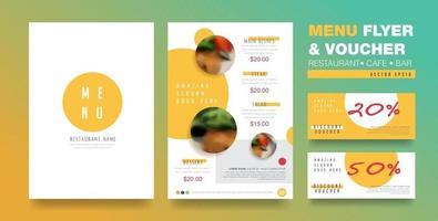 folheto de menu e modelo de design de voucher vetor