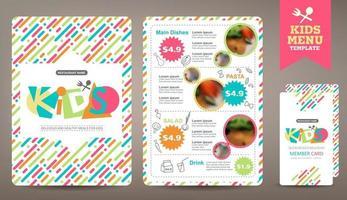 modelo vetorial de menu de refeição de crianças coloridas fofas vetor