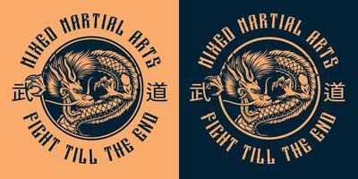 um emblema vetorial redondo com um dragão japonês vetor