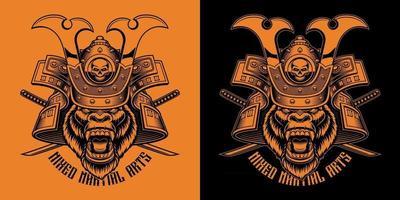 ilustração em vetor preto e laranja de gorila samurai