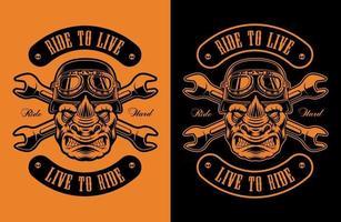 ilustração em vetor preto e laranja de um motociclista rinoceronte