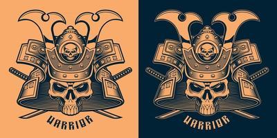 ilustração em vetor preto e laranja de um crânio de samurai