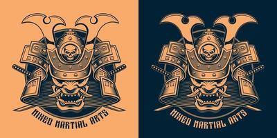 desenho de camisa preta e laranja de uma máscara de samurai vetor