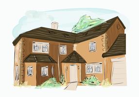 Clássico marrom tijolo edifício casa exterior aquarela Vector Illustration