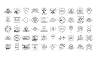 pacote de ícones do dia da independência do brasil vetor