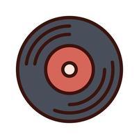 linha de gravação de disco de vinil de música e ícone de preenchimento vetor