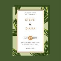 Vetor de folha de palmeira de modelo de convite