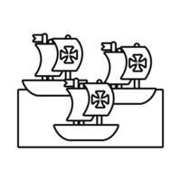 caravelas navios columbus day line style vetor