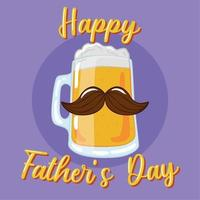 copo de cerveja isolado com espuma e bigode dia dos pais vetor