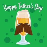 pôster do dia dos pais com um copo de cerveja com bigode e espuma vetor